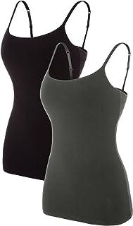 beautyin Women's Cotton Camisole with Shelf Bra Adjustable Spaghetti Strap Tank Top Cami Tanks