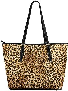 InterestPrint Luxurious Stripes Roses Zebra Skin Leather Tote Shoulder Bags Handbags for Women