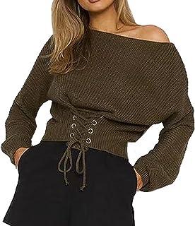 GGTFA Las Mujeres Vendaje Suelto Puente Jersey Suéter De Prendas De Punto De La Parte Superior