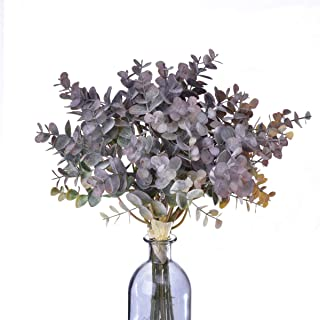 2 Packs of Artificial Eucalyptus Branches Purple Fake Plants Silk Leaves Spring Wreath Eucalyptus Tree for DIY Home Decor Party Decorations Indoor Plants Flower Pot and Home & Office Decor