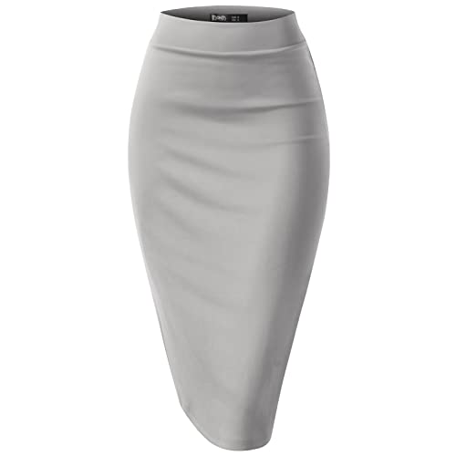 8678531360e1 TWINTH Pencil Skirts Plus Size Casual Skirt Elastic Waist Band Scuba  Streychy Solid Color