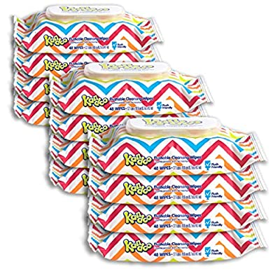 Flushable Wipes for Baby and Kids by Kandoo, Unscented for Sensitive Skin, Hypoallergenic Potty Training Wet Cleansing Cloths , 48 Count, Pack of 12 by Nehemiah Manufacturing