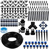 Optimisland Drip Irrigation Kit, 132ft/40m Garden Irrigation System, 1/4' Blank Distribution Tubing Drip Irrigation Hose, Save Water Adjustable Automatic Irrigation Equipment for Garden (178PCS+132FT)