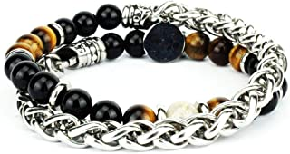 Bracciale doppio giro in acciaio inossidabile con pietre dura naturali Onice nero - Occhio di tigre - Crisantemo firmato D...