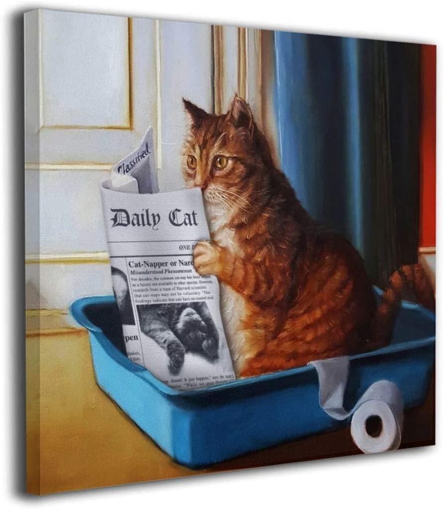Amazon Com Cat Toilet Reading Newspaper Painting Orange Tabby Litter Box Canvas Picture Bathroom Laundry Room Decor Cute Kitty Animal Artwork Framed 12 X12 Inch Posters Prints