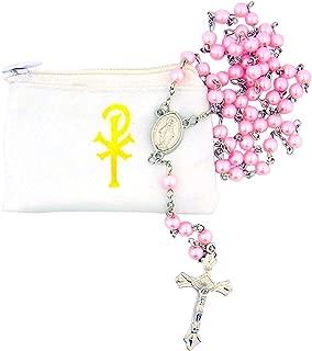 Catholic Women or Girls Glass Bead Rosary with White Zipper Vinyl Case