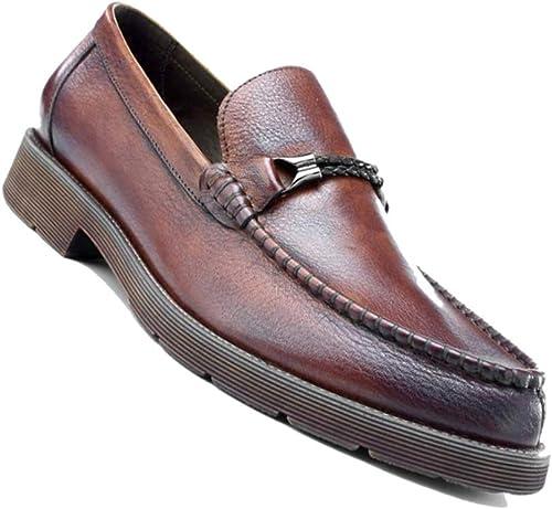 Calzado De Cuero De Hombre De Negocios Británico Acentuado Cuatro Estaciones marrón marrón Oscuro Sin Cierre Bajo zapatos De Vestir