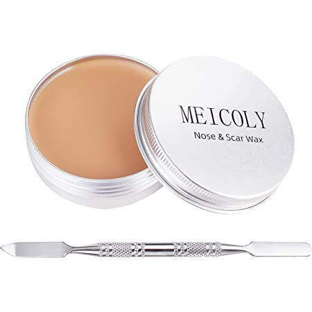 MEICOLY Scar Wax Kit Fake Molding Wound Skin Wax(1.67Oz) Special Effects Body Paint Halloween Set Fake Nose Stage SFX Makeup with Spatula,02