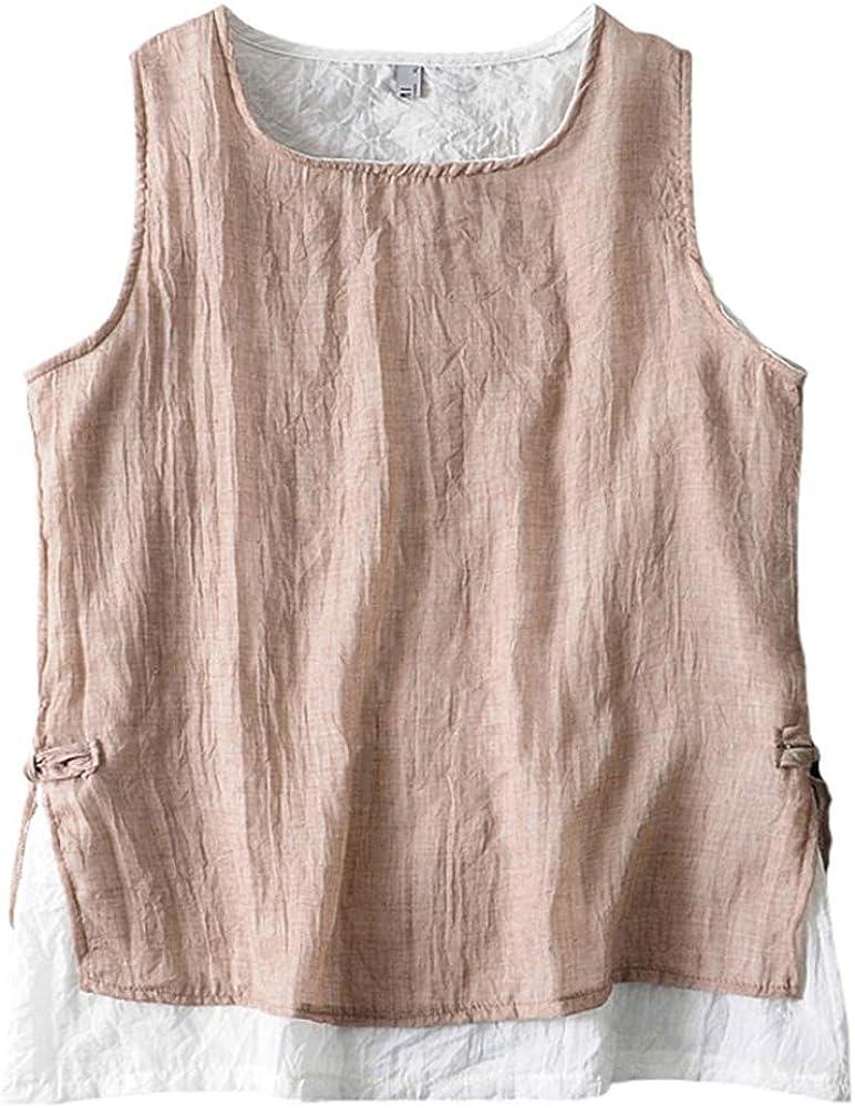 SCOFEEL Women's Sleeveless Lightweight Linen Summer Vest Tank Top Double-Layered Shirt