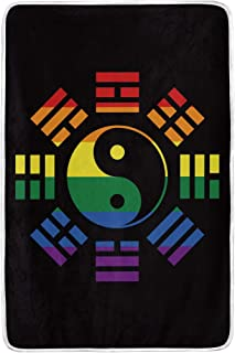 LGBT Flag Yin and Yang Bagua Throw Blanket Crystal Velvet 60 x 90 inch for Adult Color Seasonal Quilt for Bedroom Decorative