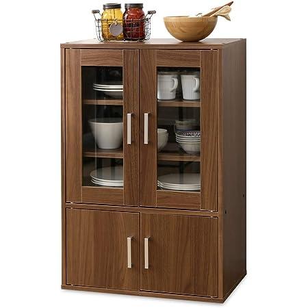 アイリスオーヤマ 食器棚 一人暮らし ミニ スリム 幅60×奥行38.8×高さ90cm ウォールナット GKN-9060