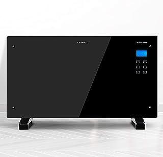 Devanti 2000W Portable Electric Panel Heater Convection Panel Heat Black Glass