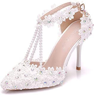 Women Ankle Strap High Heels Sandals White Lace Rhinestone Beading Wedding Shoes Pointed Toe Bridal Shoes