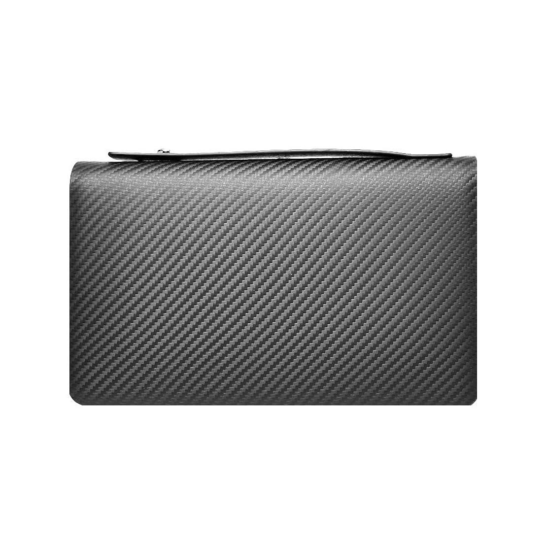 賄賂浮くキリスト教LANZA (ランザ) セカンドバッグ カーボンレザー [ ブラック ] ダブルジップ バッグ 鞄 イタリア製