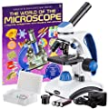 "AmScope ""Awarded 2018 Best Students and Kids Microscope Kit"" - 40X-1000X Dual Light All Metal Microscope with Slides and Microscope Book from United Scope LLC"