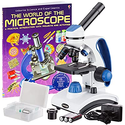 """AmScope """"Awarded 2018 Best Students and Kids Microscope Kit"""" - 40X-1000X Dual Light All Metal Microscope with Slides and Microscope Book from United Scope LLC"""