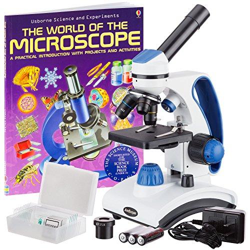"""AmScope M162C-2L-PB10-WM""""Awarded 2018 Best Students and Kids Microscope Kit"""" - 40X-1000X Dual Light All Metal Microscope with Slides and Microscope Book"""