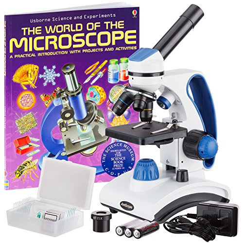 AmScope M162C-2L-PB10-WM'Awarded 2018 Best Students and Kids Microscope Kit' - 40X-1000X Dual Light All Metal Microscope with Slides and Microscope Book