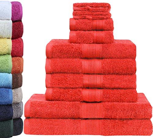 GREEN MARK Textilien 10 TLG. FROTTIER Handtuch-Set mit verschiedenen Größen 4X Handtücher, 2X Duschtücher, 2X Gästetücher, 2X Waschhandschuhe   Farbe: Rot   Premium Qualität