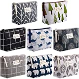 8 Pieces Canvas Cosmetic Bags Printed Makeup Bag Multi-Function Travel Organizer Pouch with Zipper for Women Girls Vacation Travel, 8 Styles