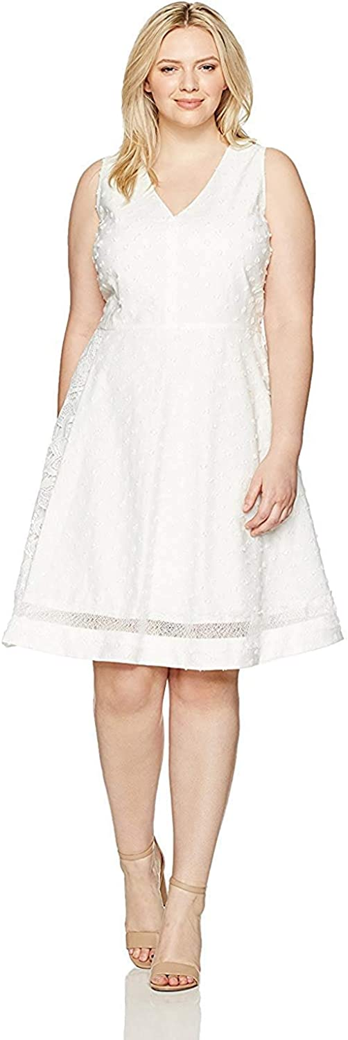 Rachel Roy Rachel Womens Mixed Media Fit Flare Dress White (0)