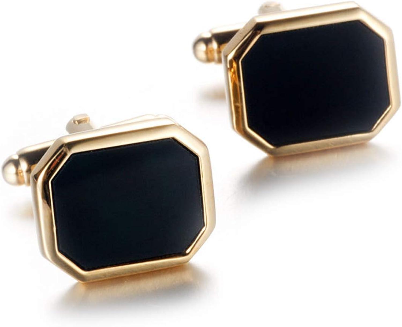 Daesar Cufflinks and Studs Men Cufflink Shirt Octagon Agate Mens Cufflinks Gold Black