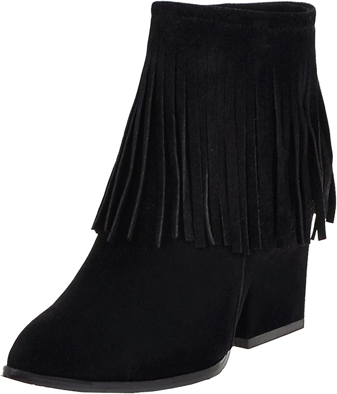 AIYOUMEI Women's Round Toe Zipper Block Heels Solid Tassel Autumn Winter Ankle Boots