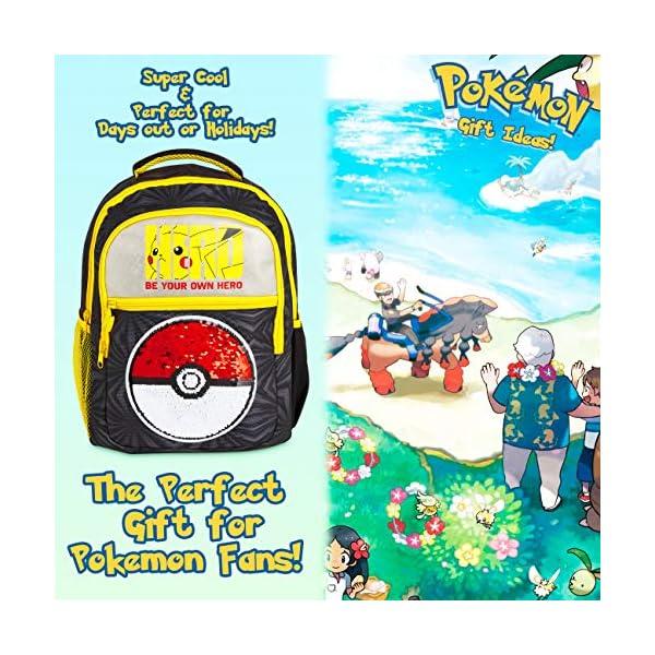 61tPof566lL. SS600  - Pokemon Mochilas Escolares, Mochila Infantil con Diseño Lentejuelas Reversibles, Mochilas Escolares Juveniles con…