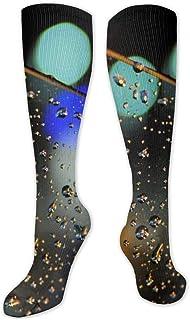 Calcetines de compresión para hombres y mujeres, ideales para correr, deportes atléticos, venas varicosas, luces de viaje Bokeh de cristal para coche gotas de agua y lluvia