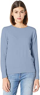 PLUMBERRY Women's Casual Long Sleeve Tops Lightweight Boxy Knit Crewneck Sweater