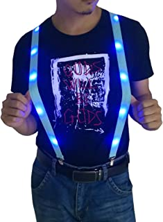 Led Light Up Suspenders Pants Braces Glow Clothing Novelty Party Rave Suspender