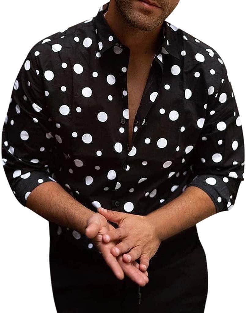 Gergeos Men's Fashion Polka Dot Printed Button Down Shirts Loose Fit Casual Shirts Long Sleeve Shirts for Men