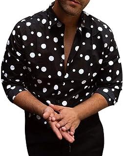 UJUNAOR Men's Loose Shirt Casual Long-Sleeved Fashion Polka Dot Printed Shirt Top Blouse Black