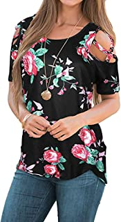 Blouses for Womens, FORUU Summer Print Strappy Cold Shoulder Comfort T Shirt Top