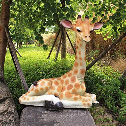 WSJF Statue Stunning Garden Ornament Sculpture Giraffe Statue Animal Model Sculpture FRP Outdoor Garden Figurine for Home Decoration Collection Ornaments Gifts 80 x 55 x 88CM