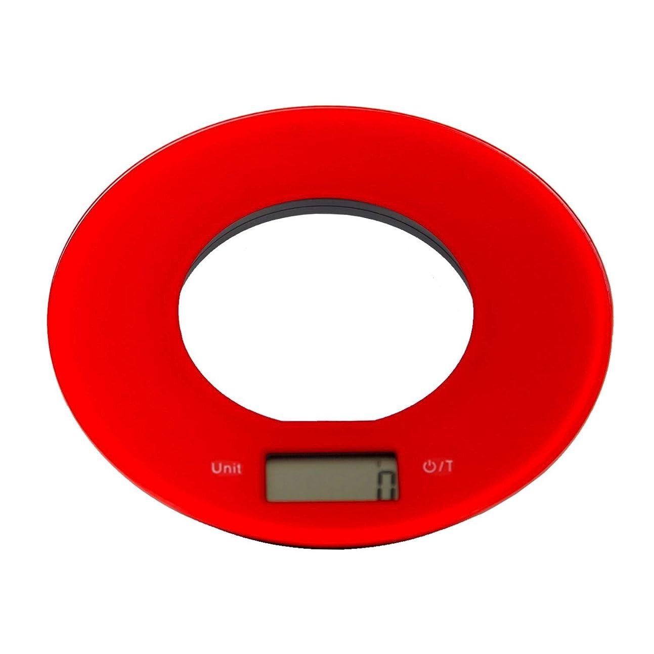 苦いつづり仲間JOLDEAR キッチンスケール 5kg デジタル フルフラット 強化ガラス製 (レッド)