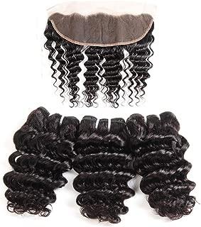 Brazilian Deep Wave Bundles with Frontal, UDU 10A Grade 3 Bundles Deep Curly Hair with Lace Frontal Short Deep Wave With Pre Plucked Lace Frontal 50g/Bundle