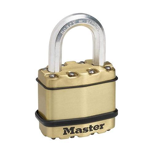 MASTER LOCK Heavy Duty Padlock [Key] [Laminated Steel / Brass Finish] [Weatherproof] M1BEURD - Best Used for Storage Units, Sheds, Garages, Fences