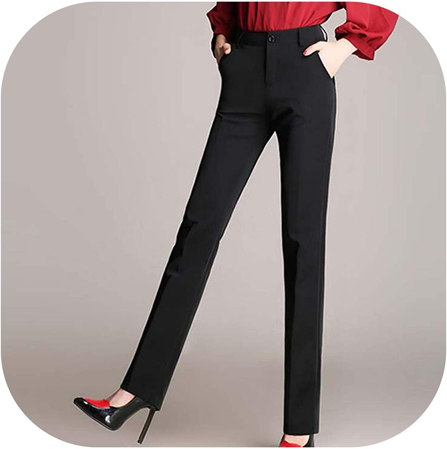 Autumn Winter Stretch Elegant Trousers Slim OL Office Wear Straight Suit Full Pencil Pants