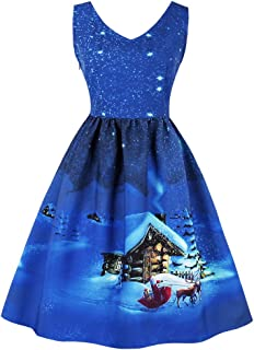 Killreal Women's V-Neck Sleeveless Vintage Cocktail Christmas Swing Dress