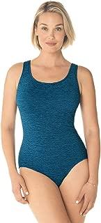 Penbrooke Women's Krinkle Chlorine-Proof Cross Back Maillot One Piece Swimsuit