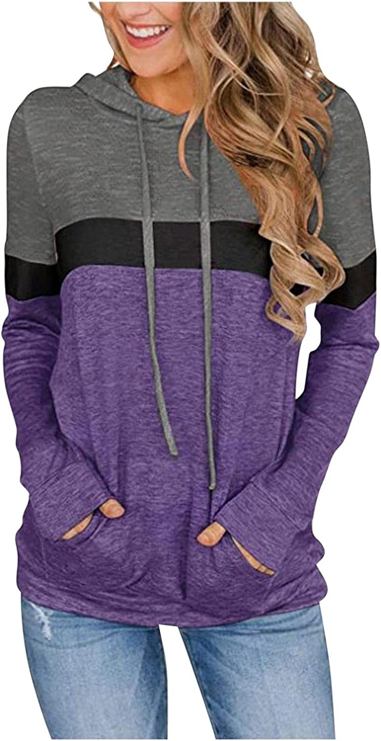 Women's Casual Color Block Hoodies Tops Long Sleeve Drawstring Pullover Sweatshirts with Pocket