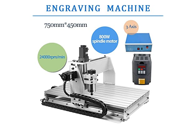 3 axis 800w 6040 desktop cnc router 3d engraving drilling milling machine  110v with 1605 ball screw and 1 5kw vfd - - amazon com