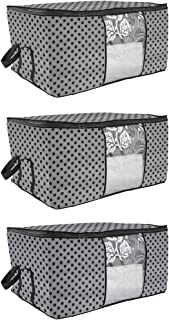 PrettyKrafts Underbed Storage Bag, Storage Organizer, Blanket Cover with Side Handles (Set of 3 pcs) - Grey Dots