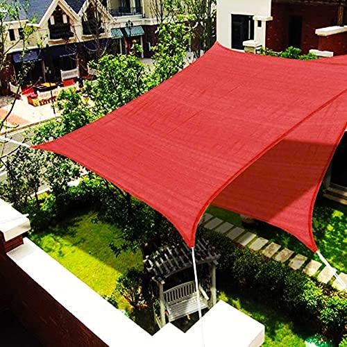 YJKDM Sonnenverdeck, wasserdichter Sonnenschutz & UV-Schutz, Sonnensegel für den Garten im Freien, 2x2m, 4x7m (rot: Größe kann angepasst Werden)