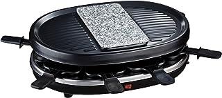 comprar comparacion H.Koenig RP 80 RP80 Raclette 8 Personas, Plancha De Piedra Natural, Grill,900 W, Acero Inoxidable, Negro, 8 Sartenes Antia...
