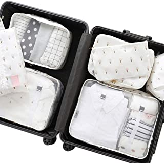 Belsmi 8 Set Packing Cubes - Waterproof Compression Travel Luggage Organizer with Shoes Bag (Ice Cream)