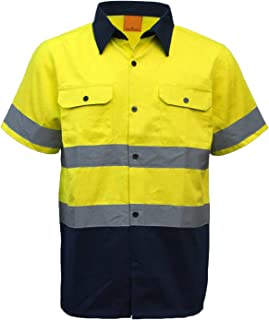 New 100% Cotton HI VIS Safety Short Sleeve Drill Shirt Workwear w Reflective Tap