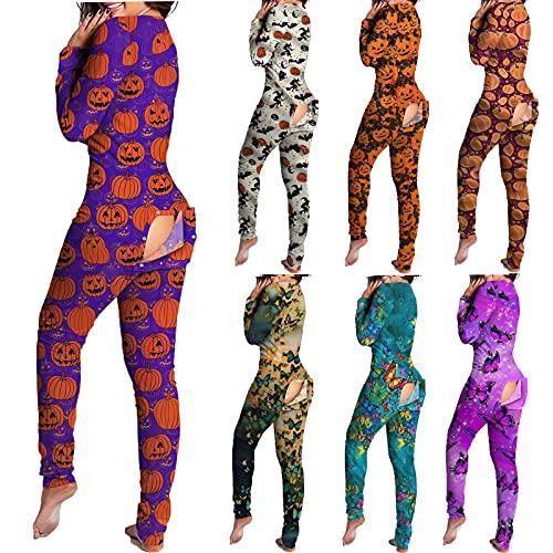 Halloween Drucken Jumpsuit Schlafanzug Damen Pyjama-Overall mit Po-Klappe Overall Pyjama Set Einteiligen Oberteilen Hosen Mit Langen äRmeln Und Langen Nachtwäsche mit Geknöpfter Klappe für Erwachsene
