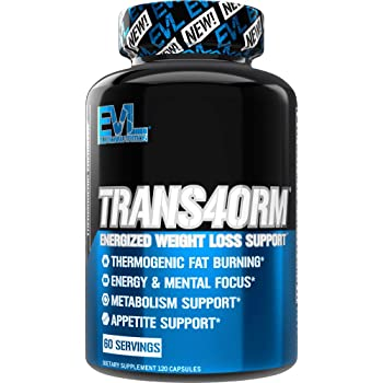 Evlution Nutrition Trans4orm - Complete Thermogenic Fat Burner for Weight Loss, Clean Energy and Focus with No Crash, Boost Metabolism, Suppress Appetite, Diet Pills (60 Servings)
